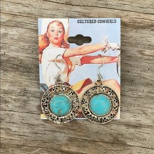 Round Rustic Cowgirl Boho Turquoise Earrings